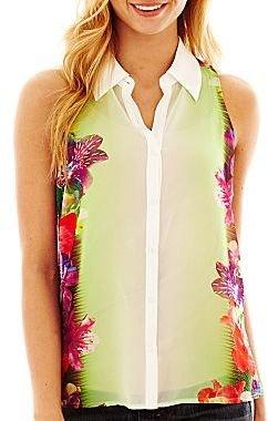 JCPenney Decree® Sleeveless Button-Front Shirt
