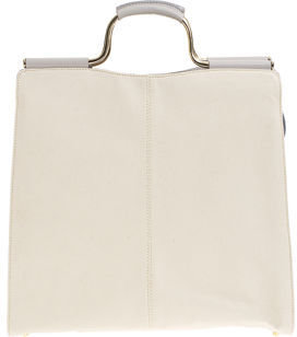 Barneys New York Canvas Bar Handle Tote- Natural