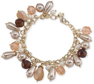 Carolee Bracelet, Gold-Tone Glass Charm Flex Bracelet