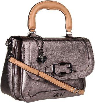 GUESS Verdugo Top Handle Flap (Gun Metal) - Bags and Luggage