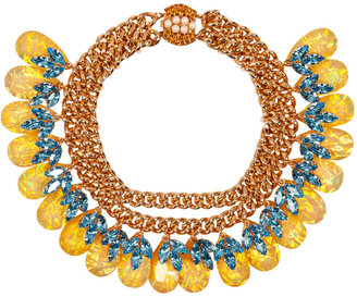 Mawi Gold-Plated Double Chain Necklace with Crystal Embellished Drops