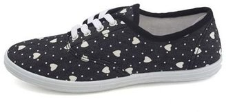 Charlotte Russe Heart Print Canvas Lace-Up Sneaker