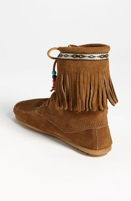 Minnetonka 'Beaded Tramper' Boot Womens Brown Suede Size 4 M 4 M