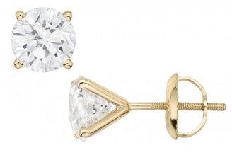 Ice 2 Carat Diamond Stud 14K Yellow Gold Earrings
