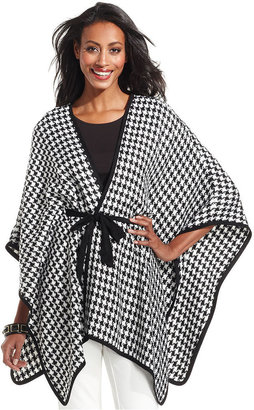 Charter Club Sweater, Dolman-Sleeve Houndstooth-Print Belted Cape