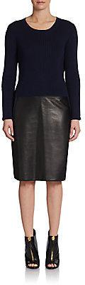 Reed Krakoff Leather-Skirt Combo Dress