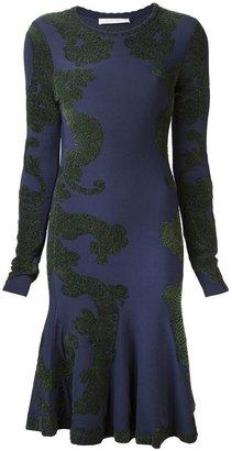 Zac Posen chenille pattern flared dress