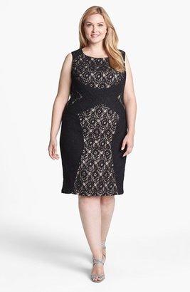 Donna Ricco Colorblock Lace Sheath Dress (Plus Size)