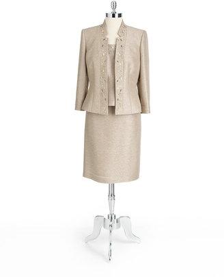Tahari ARTHUR S. LEVINE Beaded Textured Three-Piece Skirt Suit