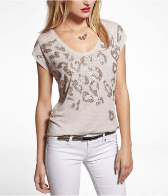 Express Sequined Leopard Dolman Tee