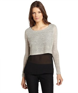 Dex light grey melange and black cropped sweater and chiffon layered top