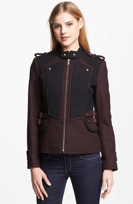 Sam Edelman Zip Front Military Tweed Jacket