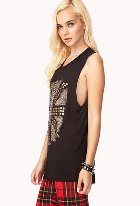 Forever 21 Studded Union Jack Muscle Tee