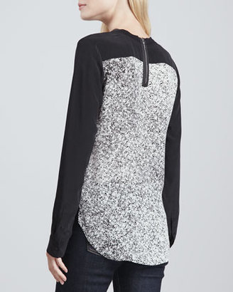 Rebecca Taylor Woodcut Printed/Solid Blouse