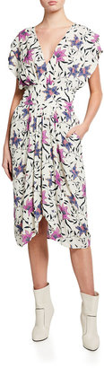 Etoile Isabel Marant Omeya Floral V-Neck Midi Dress