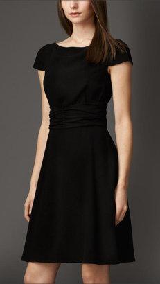 Burberry Wrapped Waist Satin-Back Crepe Dress