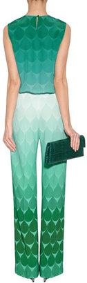 Jonathan Saunders Tonal Pacific Green Teardrop Print Silk Top