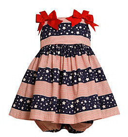 Bonnie Jean Baby Girls' Red/Navy Americana Bow Shoulder Dress