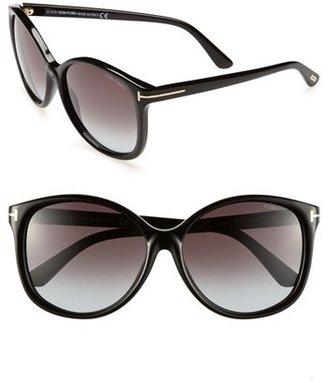 Women's Tom Ford 'Alicia' 59Mm Sunglasses - Shiny Black $380 thestylecure.com