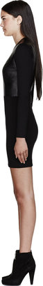 Helmut Lang Helmut Black Hammer Ponte Jersey & Leather Dress