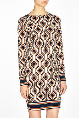 MICHAEL Michael Kors Argyle Print Long Sleeve Border Dress