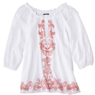 Webster The at Target® Embroidered Gauze Top - White
