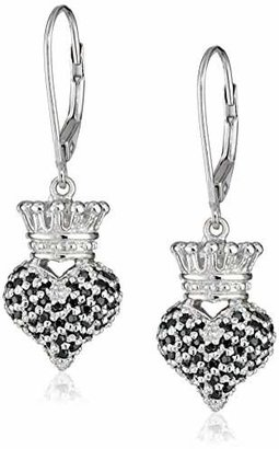 "King Baby ""Crowned Heart"" Small 3D Crowned Heart with Pave Black Cubic Zirconia Leverback Earrings $190 thestylecure.com"