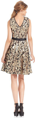 Betsy & Adam Sleeveless Sequin Lace Belted Dress