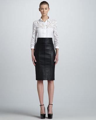 Burberry High-Waist Leather Pencil Skirt
