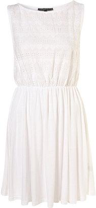 Topshop Petite White Heart Embossed Skirted Dress