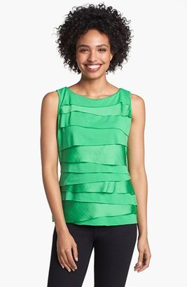 Vince Camuto Tiered Mixed Media Tank (Petite)