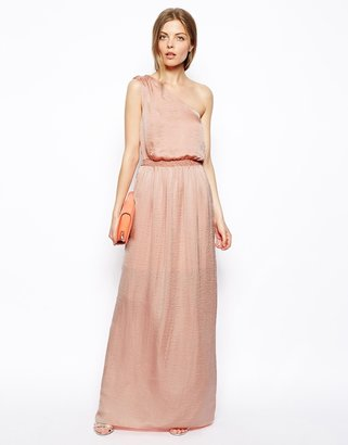 Asos Maxi Dress With One Shoulder In Satin