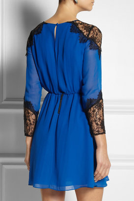 Alice + Olivia Dany lace-trimmed silk-crepe dress