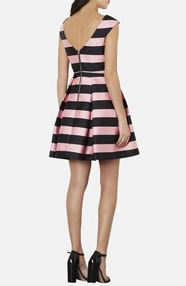 Topshop Stripe Satin Fit & Flare Dress