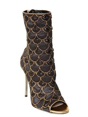 Balmain 110mm Lurex Embroidered Peep Toe Boots