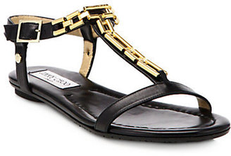 Jimmy Choo Narcissa Leather Chain-Detail T-Strap Sandals