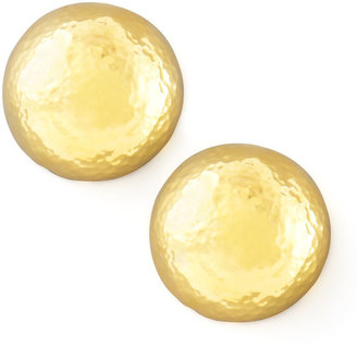 Jose & Maria Barrera Hammered Gold-Plate Dome Clip Earrings
