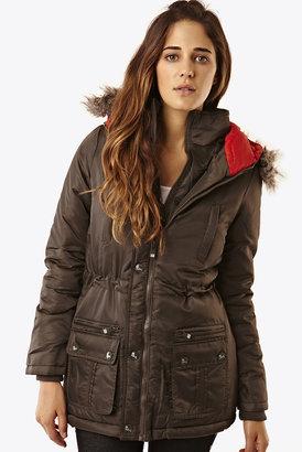 Fashion Union Khaki Padded Parka Coat With Fur Hood