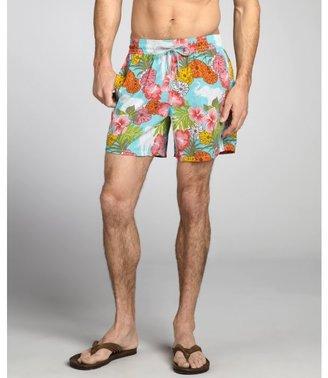 Vilebrequin aigue marine matte nylon marigold print 'Moorea' swim trunks