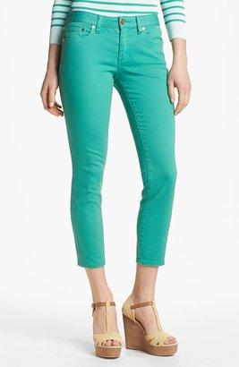 Tory Burch 'Alexa' Skinny Crop Stretch Jeans (Viridian Green)