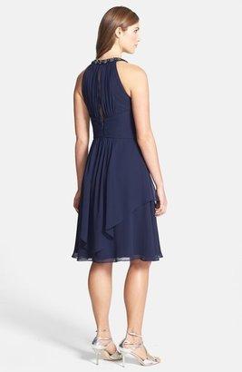Eliza J Embellished Neck Layered Chiffon Fit & Flare Dress