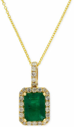Effy Brasilica by Emerald (1-3/8 ct. t.w.) and Diamond (1/4 ct. t.w.) Pendant Necklace in 14k Gold, Created for Macy's