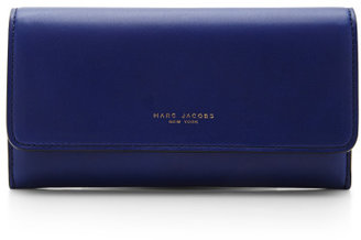 Marc Jacobs Double Groove Leather Wallet Marine & Natural
