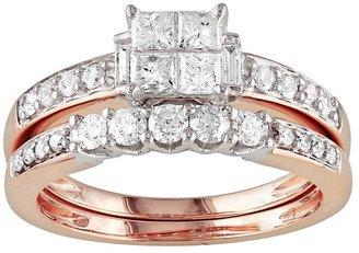 14k Rose Gold 1-ct. T.W. IGL Certified Princess-Cut Diamond Ring Set