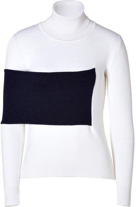 J.W.Anderson Merino Wool Blend Turtleneck Pullover in White/Navy