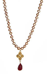 Wendy Mink Ruby and Champagne Pearl Necklace