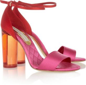 Stella McCartney Perspex-heeled two-tone satin sandals