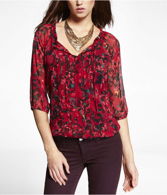 Express Floral Pleated Front Banded Bottom Blouse