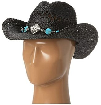 M&F Western 7104601 (Diamond/Turquoise/Black Raffia) Caps