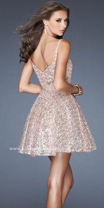 La Femme Sequined Belted Full Skirt Cocktail Dresses